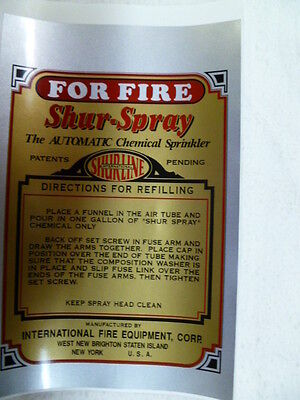 SHUR-SPRAY Glass Fire Extinguisher Decal