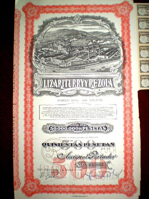 Lizariturry y Rezola ,Spain,soap,1953,share certificate