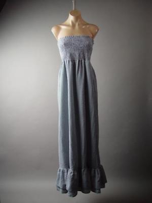 Gingham Plaid Black White Western Strapless Long Maxi 286 mv Dress 1XL 2XL 3XL