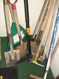 Assorted Shovels,Rakes,Broom,Weed Puller etc.