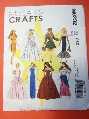 """McCall's Sewing Pattern M6232 6232 Fashion Doll Barbie Clothes 11.5"""" Tall"""