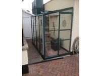 Aluminium Lean To Greenhouse - Green, 4mm Polycarbonate
