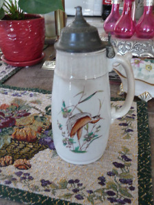 Beautiful Tall  Covered Antique Syrup Jug 1872