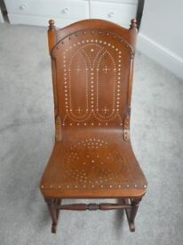 Unusual Compact Antique Rocking Chair with attractive perforated decoration