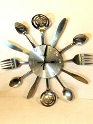 15 WALTHAM Kitchen Wall Clock Cutlery Spoon  Fork Knife Ladle Decorative Metal