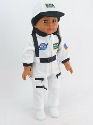 White Nasa Flight Suit Astronaut For 18 Inch American Girl Doll Clothes Luciana