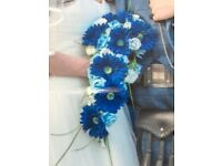 Navy, Blue and Ivory Silk Wedding Flowers - Gerbera and Roses