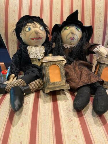 Joe Spencer Gathered Traditions Edgerton Boy  & Ebony Witch doll Light Up Set