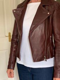 Karen Millen Signature Leather Biker Jacket size 12