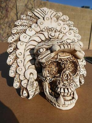 AZTEC Mayan skull Leopard totem Mexican Folk Art Day of the Dead pottery