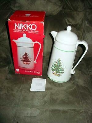 Vintage - NIKKO Thermos - Hot & Cold CARAFE Set - Christmas Carafe - Coffee Tea