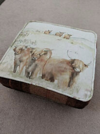 Voyage and Moon Fabric Highland Coo small footstool