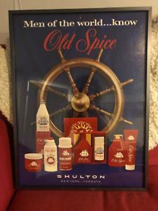 Vintage Old Spice poster, custom framed