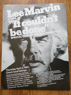 1970 Movie Ad Lee Marvin Stars in It Couldn't be Done  April 2 NBC