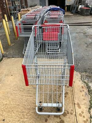 Shopping Carts Gray Metal Lot 16 Medium Steel Size Discount Store Buggies Red