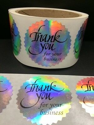 25 Thank You For Your Business 2 Sticker Starburst Holographic Paper New