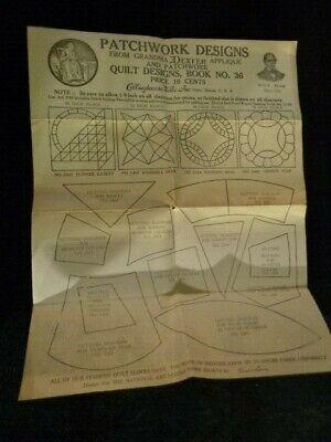 Antique 1920s Patchwork Quilt Design Book #36 & Lace Samples Advertising Sheet