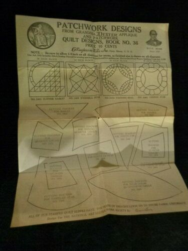 Antique 1920s Patchwork Quilt Design Book #36 & Lace Samples Advertising Sheet
