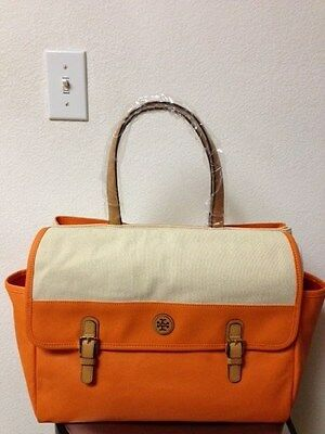 Tory Burch Pierson Handbag Large Beach Tote Natural Tory Orange  New $350