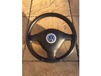 Genuine VW Golf MK4 25th Anniversary Perforated Black Leather Steering Wheel with Red Stitching.