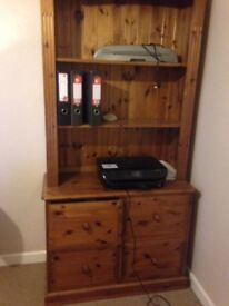 Pine 4 Drawer Filing Cabinet with bookslves on top. Good Condition. Collection only