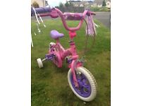 NEW BARBIE BICYCLE WITH TRAINING WHEELS ATTACHED