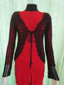 CROCHET KNIT JACKET - BLACK COTTON - SMALL - NEW