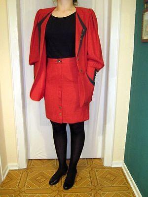 Kostüm 38 Rot/Grün kuzer Rock Damen Leinenmischung Vintage 80ziger Jahre