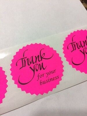 50 Thank You For Your Business 2 Sticker Starburst Pink Neon New Thank You New
