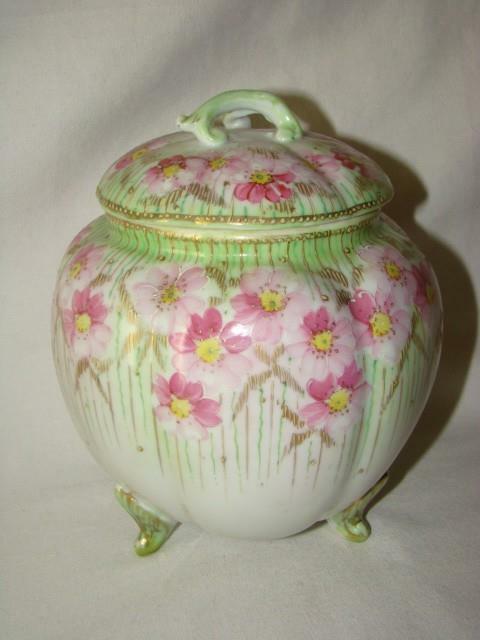 Gorgeous Vintage Hand Painted Porcelain BISCUIT JAR Pink & Green Enamel ROSES