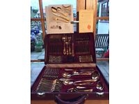 72 piece 23/24 carat gold plate cutlery set in presentation case made by SBS Bestecke .