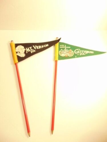 2 large souvenir pencils with pennants:  Gettysburg and Mt Vernon (14 inches)