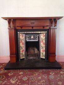 Wooden fire surround, tiles and grate