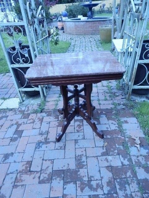 "VICTORIAN MARBLE TOP MAHOGANY TABLE 30""H x 20""D x 27 1/2"" W"