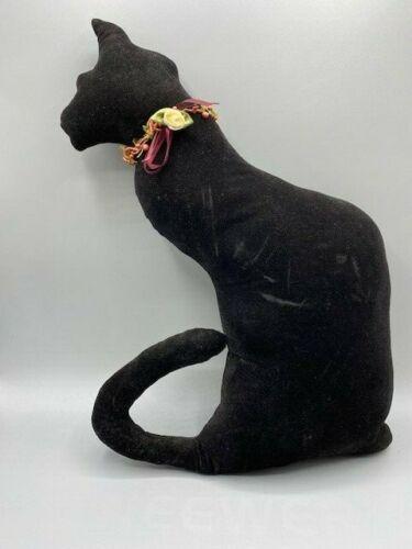 """Vtg Black Velvet  Kitty Cat Silhouette Stuffed Doll Window Sitter Pillow 15"""""""