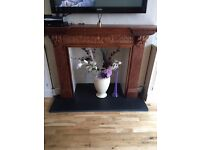 original hand carved wood fireplace surrounding