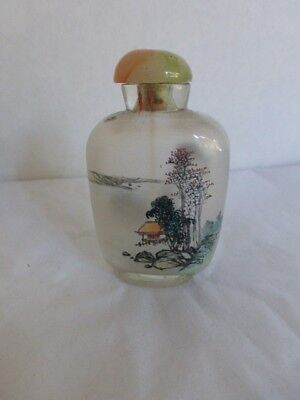 vtg Glass SNUFF BOTTLE Reverse Painted Village Mountain Scenic / FREE SHIP US