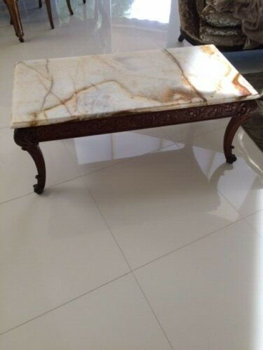 Antique Vintage Carved Wood French Italian Coffee Table Marble Cocktail