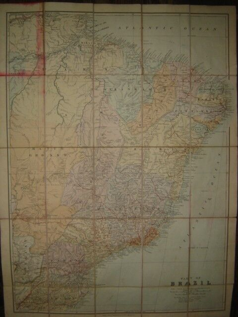 19th century detailed map on Brazil