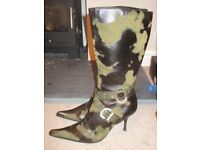 Sixze 41 (7 1/2) ladies leather boots with diamonte detail - Made in Italy- worn once