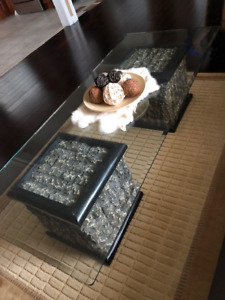 GLASS TOP COFFEE TABLE AND END TABLE SET - EXCELLENT CONDITION