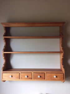 Solid  Pine shelf with drawers