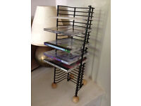 CD storage Metal Rack/Tower with wooden feet