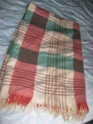 Welsh Blanket ~ Wool & Check Pattern with Fringe ~ lovely