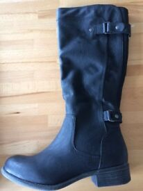Brand New Monsoon Black Matt Leather Boots - Size 5