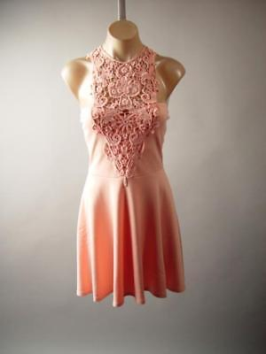 Crochet Lace Halter Pastel Blush Peach Party Fit and Flare Skater 271 mv Dress