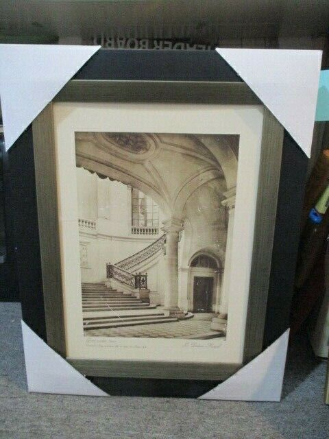 "Vintage ""Grand escalier"" Paris Scene Frame Print By Grace Feyock *Missing Glass*"