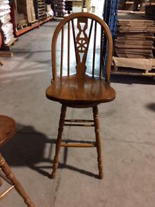 Oak swival bar stools - set of 3