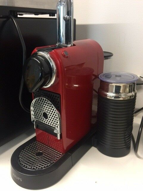 Nespresso By Krups Coffee Pod Machine With Milk Frother Cherry Red