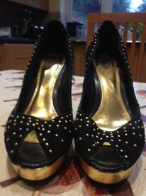 Black Suede and Gold Studded Platform Stilettos from Faith – Size 5